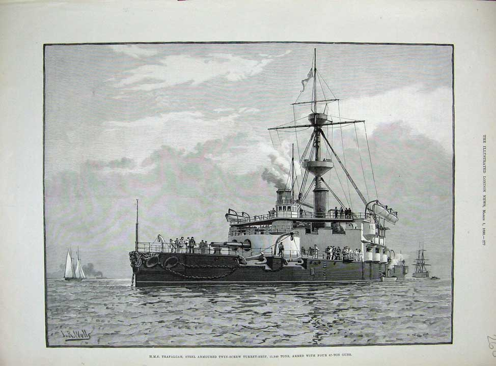 [Print 1890 War Steel Armoured Ship H.M.S Trafalgar Turret 260N167 Old Original]