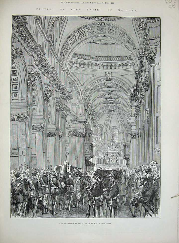 [Print Funeral Lord Napier Magdala 1890 Paul'S Cathedral War 403An167 Old Original]