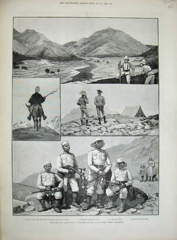 [Print 1890 Niti Field Force War Thinet Frontier Surai Thota 404An167 Old Original]