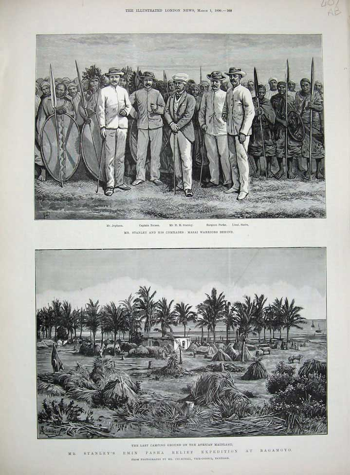 [Print 1890 Stanley Masai Warriors Emin Pasha Yambuya Camp War 407An167 Old Original]