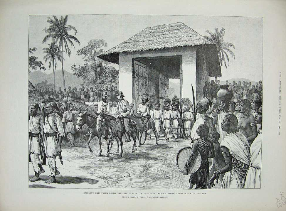 [Print 1890 Stanley Emin Pasha Jephson Nile School Church War 408An167 Old Original]
