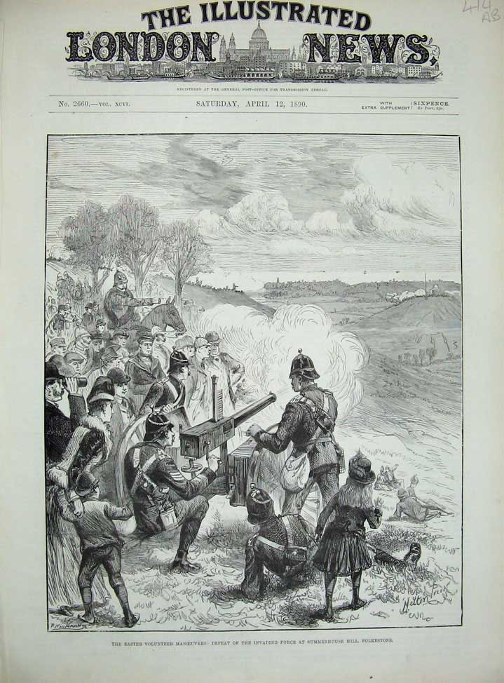 [Print 1890 Summerhouse Folkestone War Army Soldiers Wolmer 414An167 Old Original]