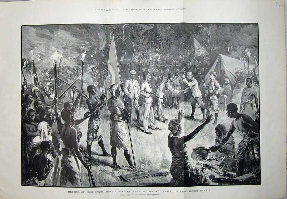 [Print 1890 Emin Pasha Stanley Kavalli Lake Albert Nyanza War 511Tn167 Old Original]
