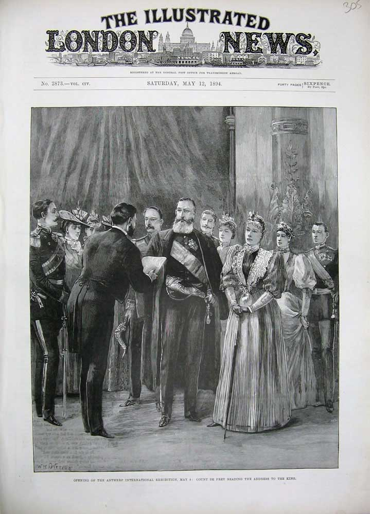 [Print *0251 1894 Antwerp International Exhibition Count Pret King 305N170 Old Original]