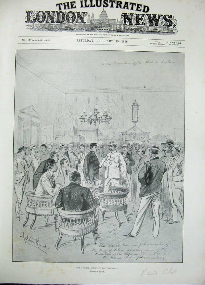 [Print 1896 War Transvaal Facsimile Sketch Men Meeting Prior 175N171 Old Original]
