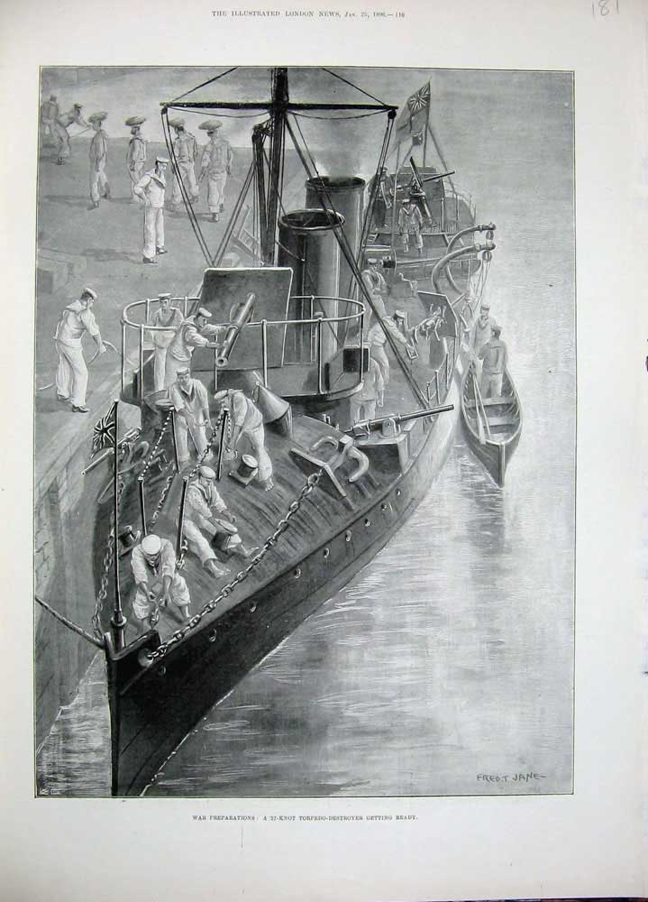 [Print 1896 War Preparations 27-Knot Torpedo Destroyer Ship 181N171 Old Original]