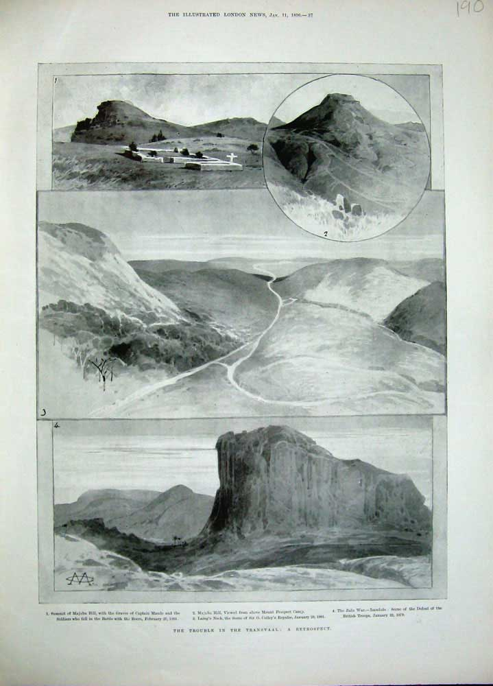 [Print 1896 Transvaal War Majuba Hill Laing'S Neck Zulu War 190N171 Old Original]