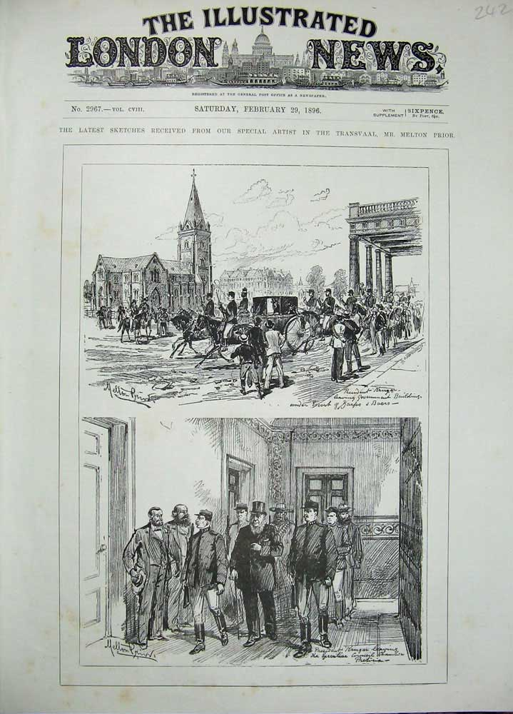 [Print 1896 Sketches Transvaal Melton Prior Church People War 242N171 Old Original]