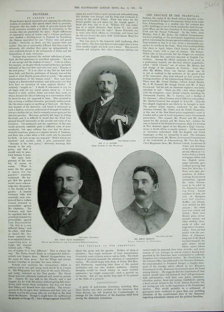 [Print 1896 Mr Kotze Melt Marais John Hammond War Transvaal 244N171 Old Original]