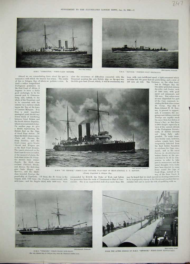 [Print 1896 Ship Gibraltar Havock George Thrush Revenge War 247N171 Old Original]