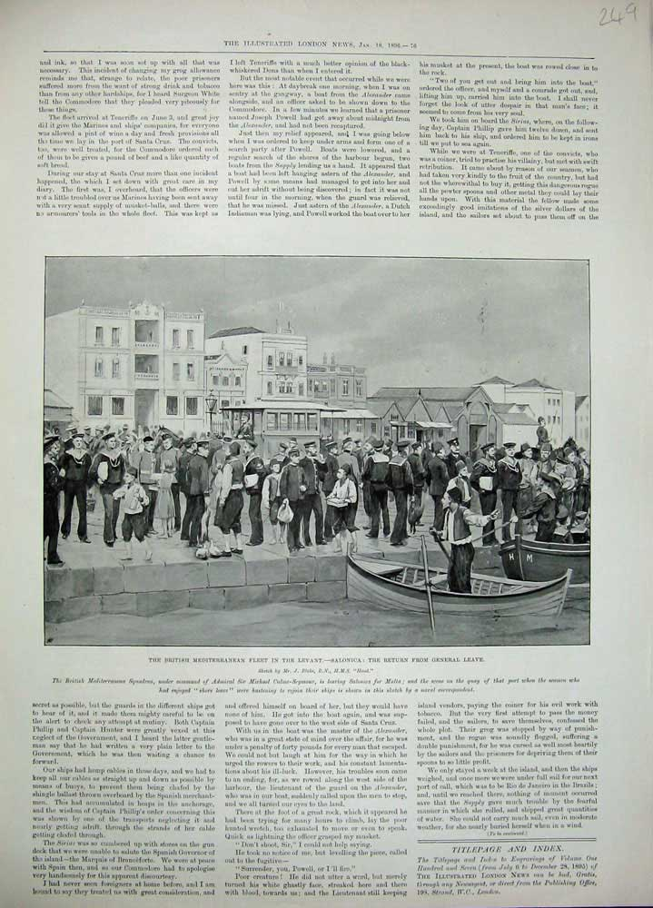 [Print 1896 British Fleet Levant Salonica War Michael Seymour 249N171 Old Original]