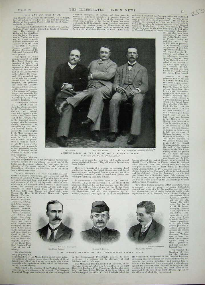 [Print 1896 War Men Farrar Rhodes Phillips Jameson Newton 250N171 Old Original]