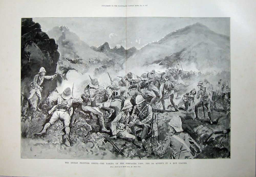 [Print 1897 India War Sempagha Pass Army Battle Melton Prior 506Tn173 Old Original]