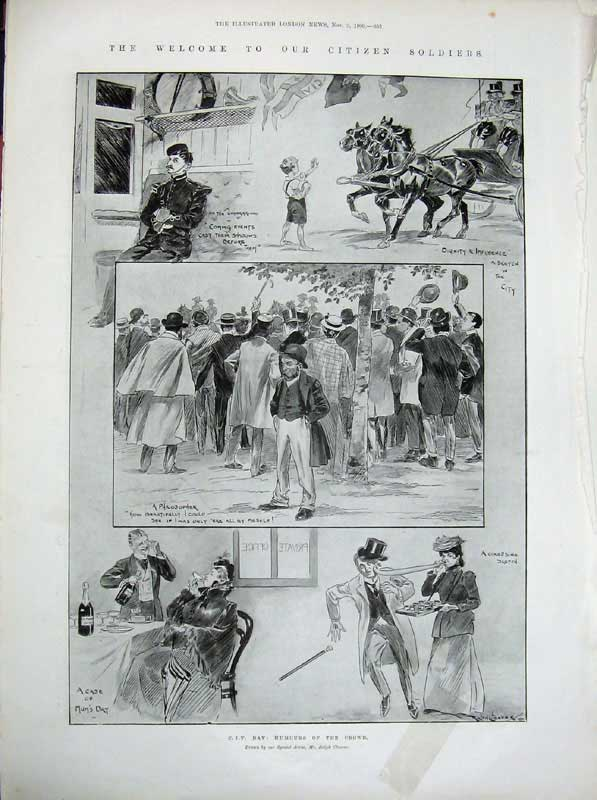 [Print 1900 Procession Soldiers War Flags People Horses Coach 415An175 Old Original]