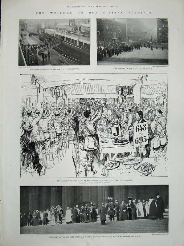 [Print 1900Soldiers St Paul'S Cathedral Lord Mayor War Banquet 416An175 Old Original]
