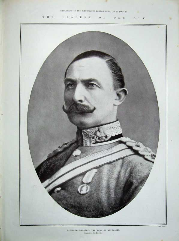 [Print 1900 War Soldiers South Africa Earl Albemarle Colonel 418An175 Old Original]