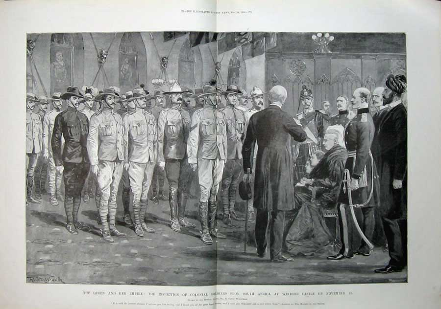 [Print 1900 Queen Colonial Soldiers Windsor Castle War Army 507Tn175 Old Original]