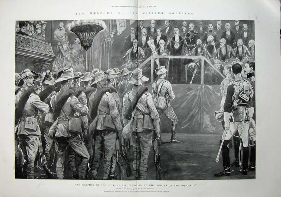 [Print 1900 Reception C.I.V Guildhall Lord Mayor War Soldiers 511Tn175 Old Original]