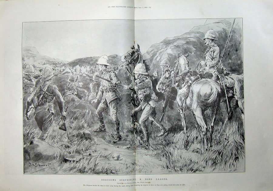 [Print 1900 Dragoons Laager War Camp Horses Soldiers Sketch 523Tn175 Old Original]