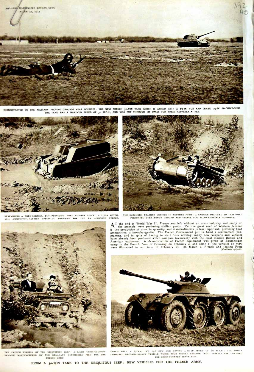 [Print 1951 War Tank Ubiquitous Jeep French Army Grasse Ships 392An176 Old Original]