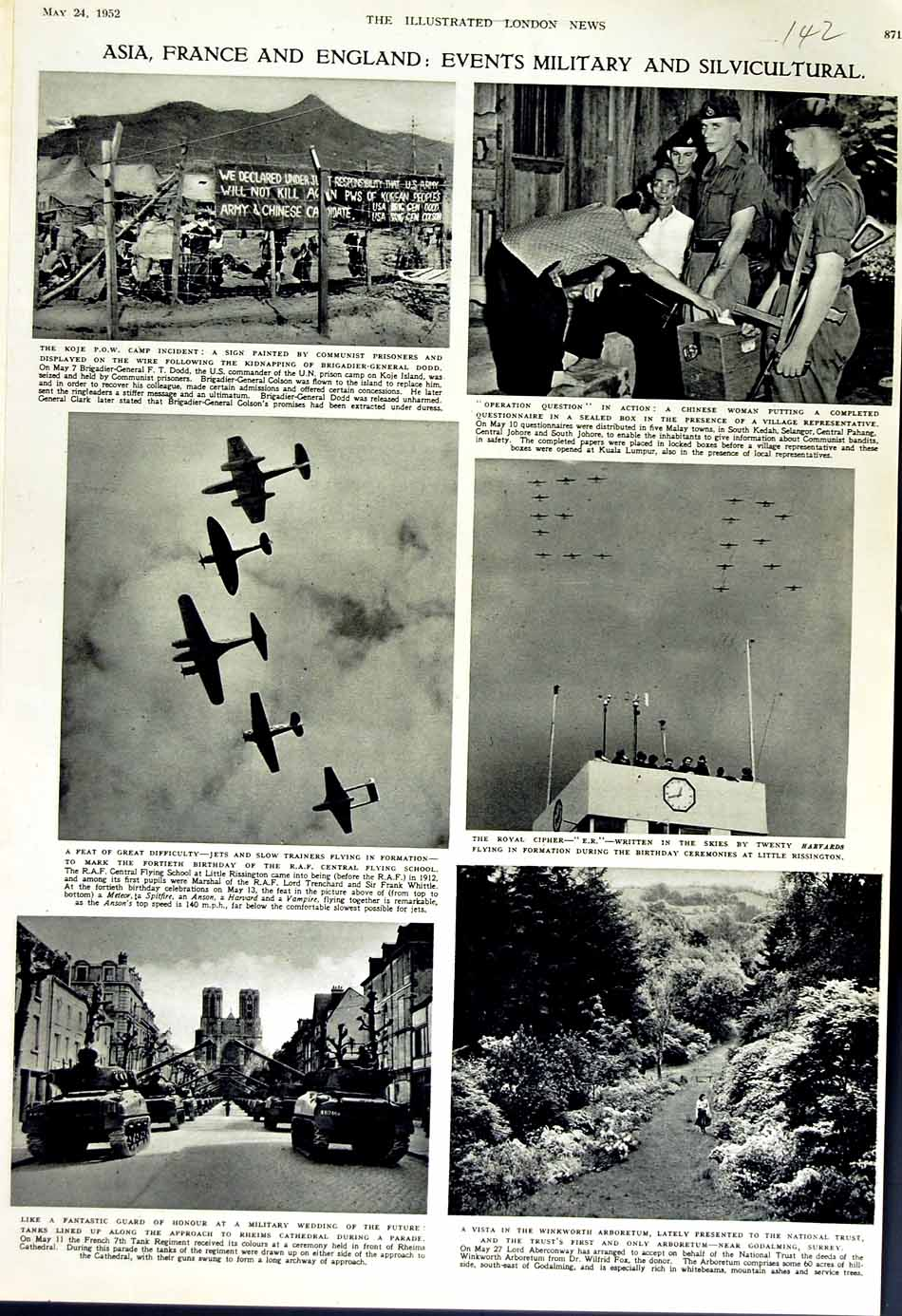 [Print 1952 Asia France England R.A.F Jets War Soldiers Rheims 142N181 Old Original]