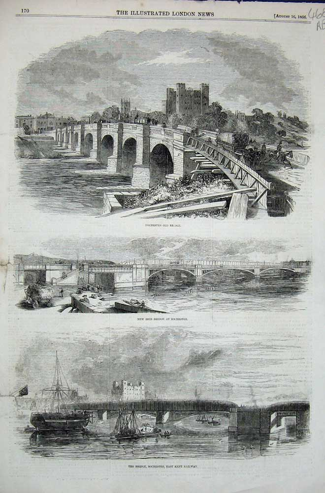 [Print 1856 Rochester Bridge Railway War Monument Pennycuick 466An303 Old Original]