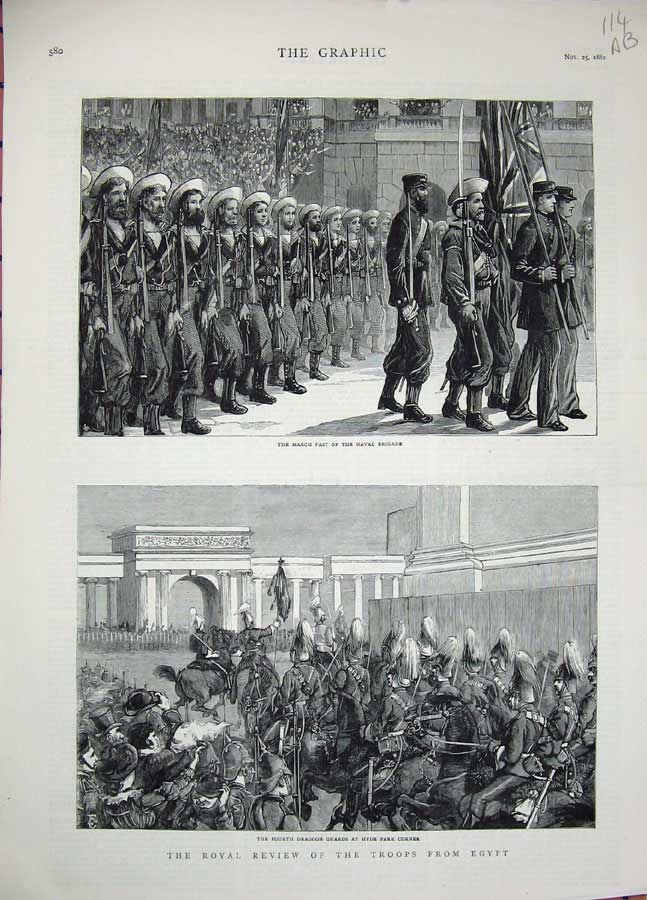 [Print 1882 Army Soldiers Hyde London Mall Egypt Troops War 114An305 Old Original]