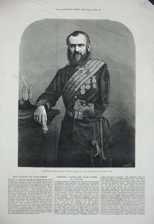 [Print 1878 Lieutenant-General Sir Browne War Khyber Pass Art 119N308 Old Original]