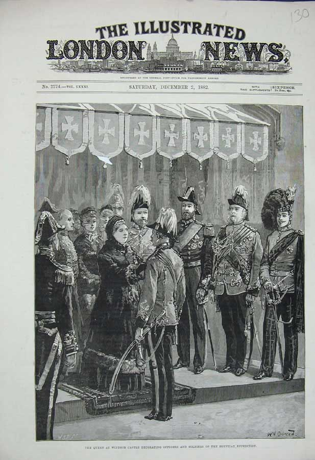 [Print 1882 Queen Windsor Castle Soldiers Egyptian War Uniform 130N308 Old Original]
