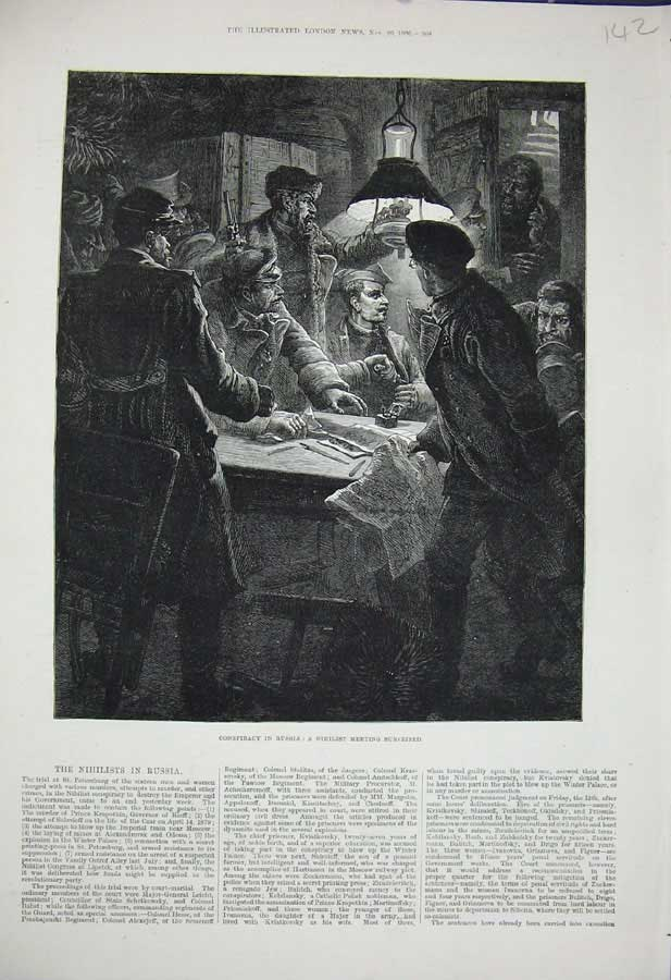 [Print 1880 Russia Nihilist Men Meeting St Petersburg War Men 142N308 Old Original]