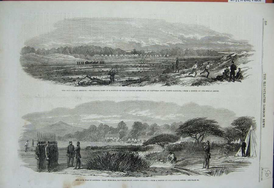 [Print Civil War America 1862 Camp Winfield Carolina Hatteras 156N308 Old Original]