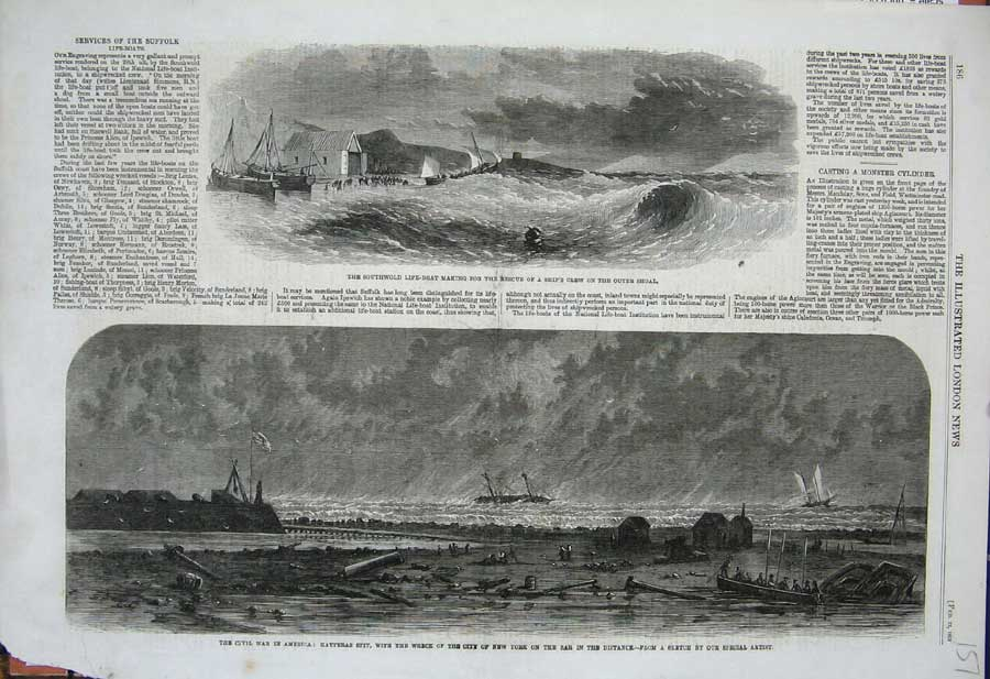 [Print 1862 SouthwLife-Boat Civil War America Ship Wreck 157N308 Old Original]