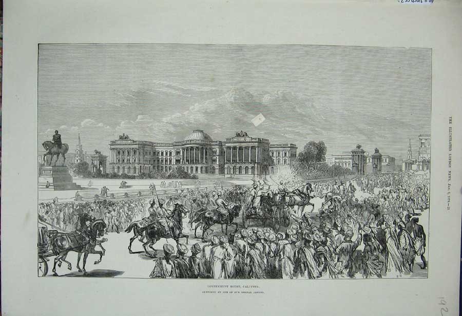 [Print 1876 Government House Calcutta Soldiers Horses War 192N308 Old Original]