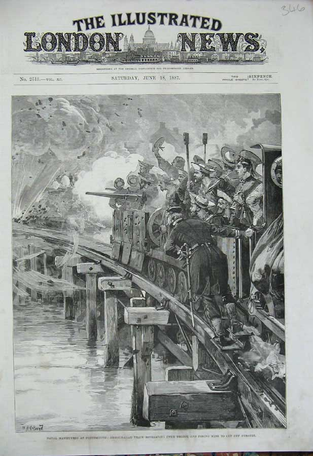 [Print 1887 Portsmouth Armour-Clad Train Bridge War Soldiers 346N308 Old Original]