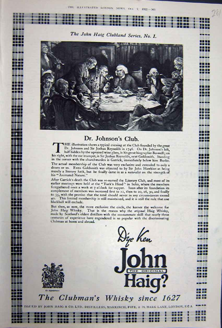 Print Ref.878 Advertisement 1922 John Haig Whisky Distillers London 281N310 Old Original