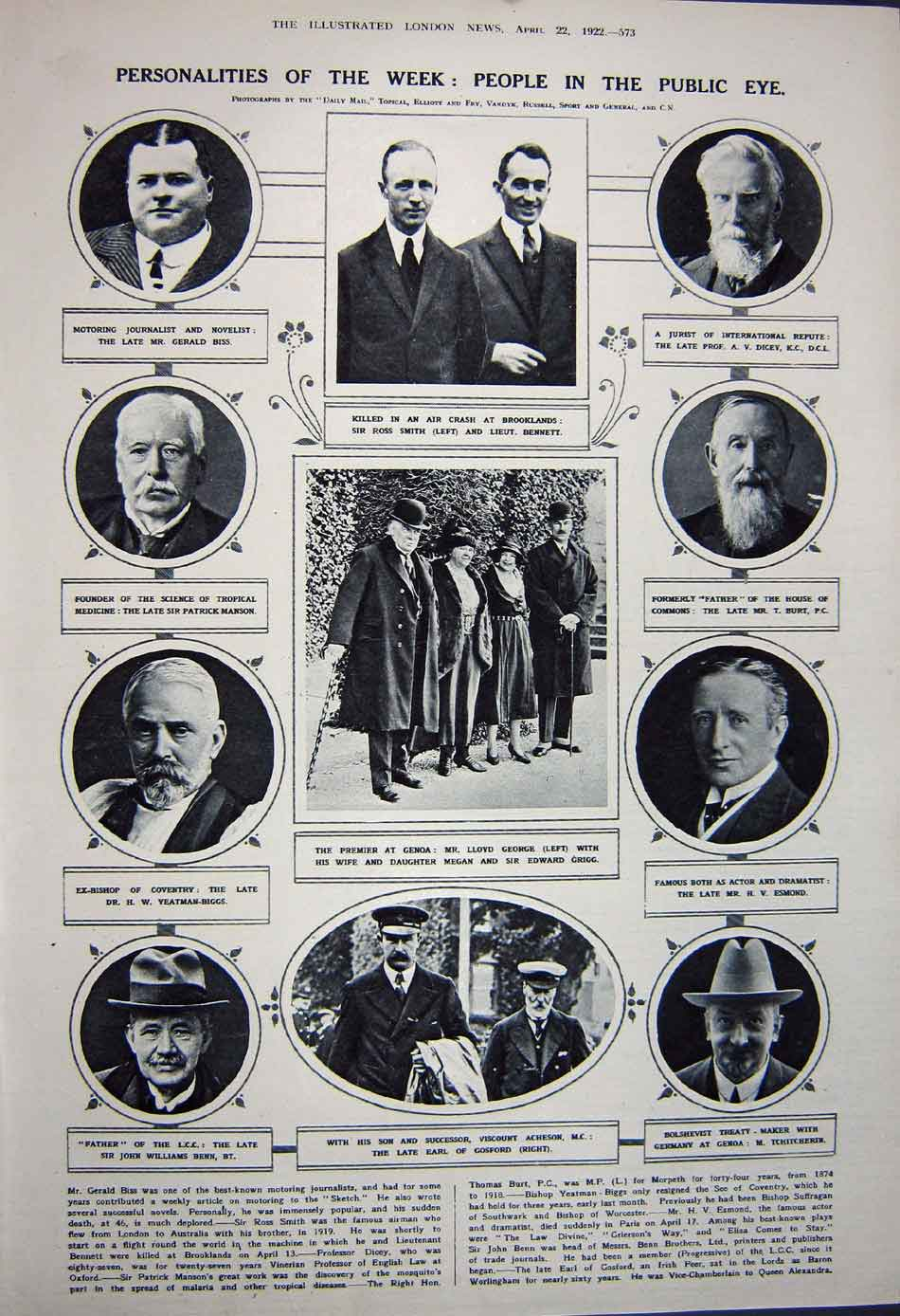 [Print 1922 Portsmouth War Memorial Eton Funeral Earl George 424Rn312 Old Original]