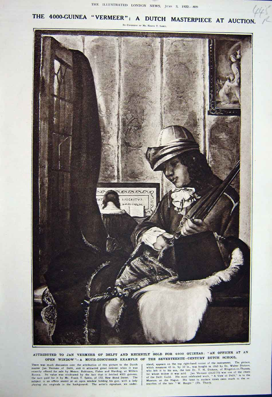 [Print 1922 Jan Vermeer Art Music Allenby War Memorial Henry 445Rn312 Old Original]