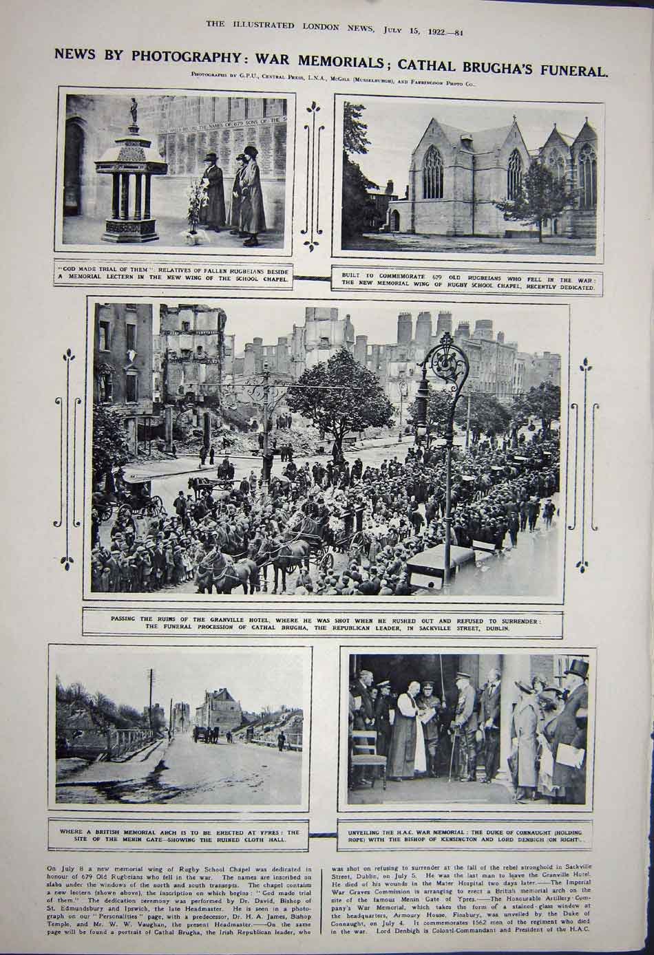 [Print 1922 Agricultural Show Cambridge Brugha Funeral War 461Rn312 Old Original]