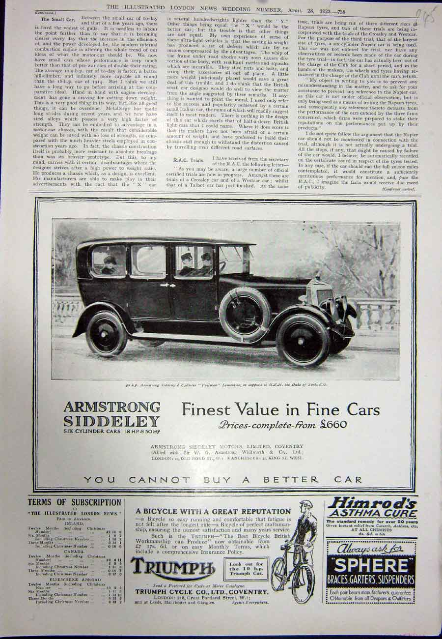 [Print 1923 Advertisement Triumph Cycle Armstrong Motor Car 245N317 Old Original]