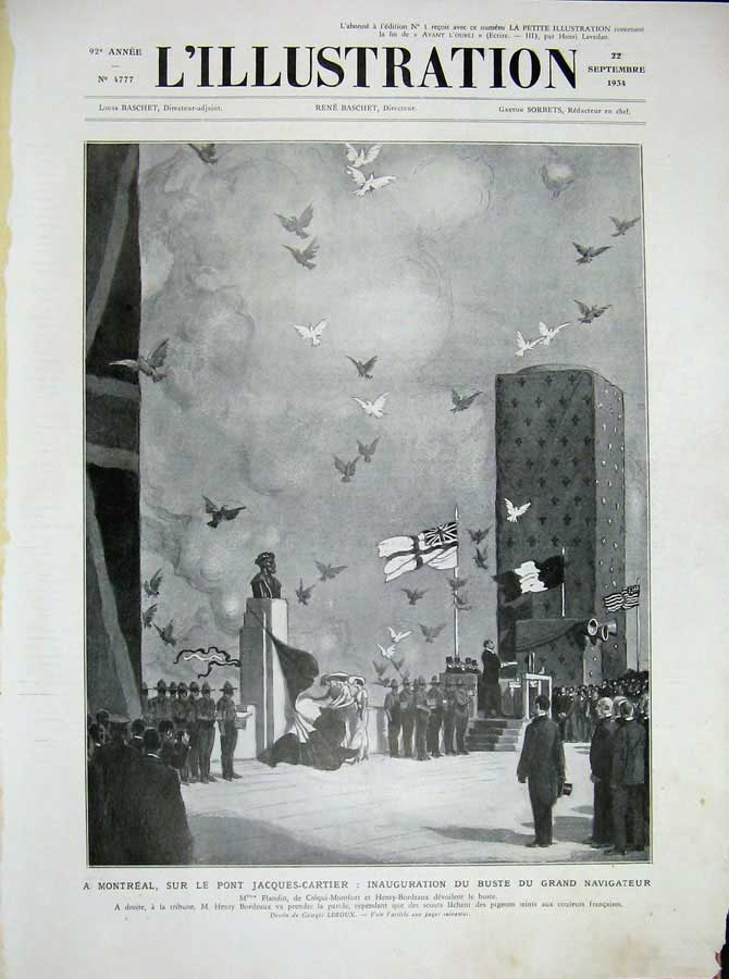 [Print 1934 French Montreal Bust Flags War Soldiers Statue 101N701 Old Original]
