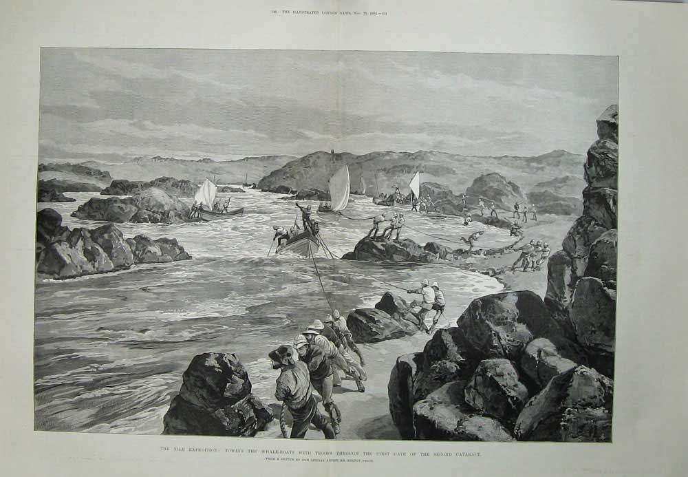 [Print 1884 Nile Egypt War Whale Boats Soldiers Cataract Art 178Tn706 Old Original]