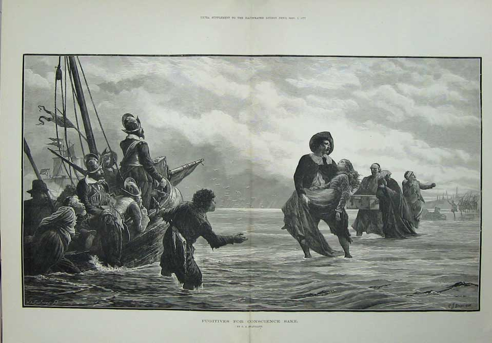 [Print 1877 Fugitives War Ships Soldiers Army Staniland Art 124Tn709 Old Original]