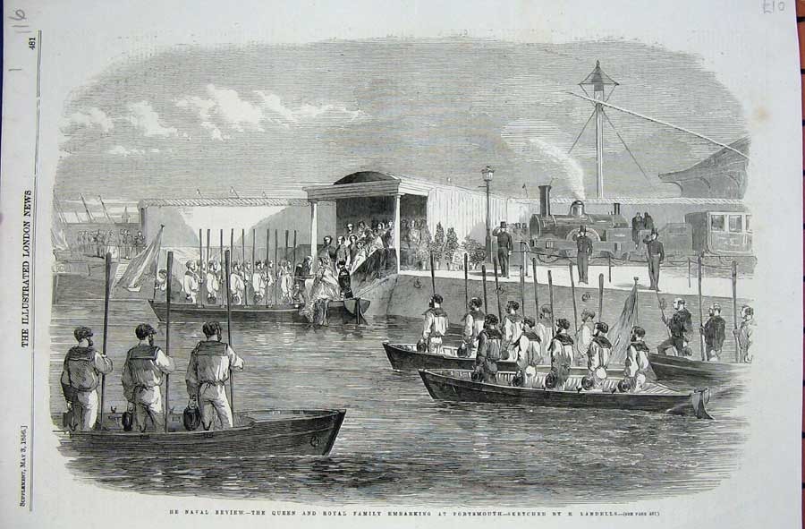 Print 1856 Naval Review Queen Royal Family Portsmouth War 116N711 Old Original