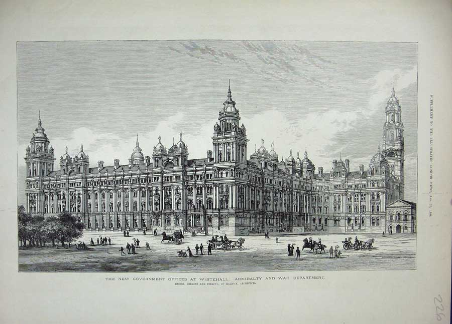 [Print Admiralty War Department 1884 Government Whitehall 226N711 Old Original]