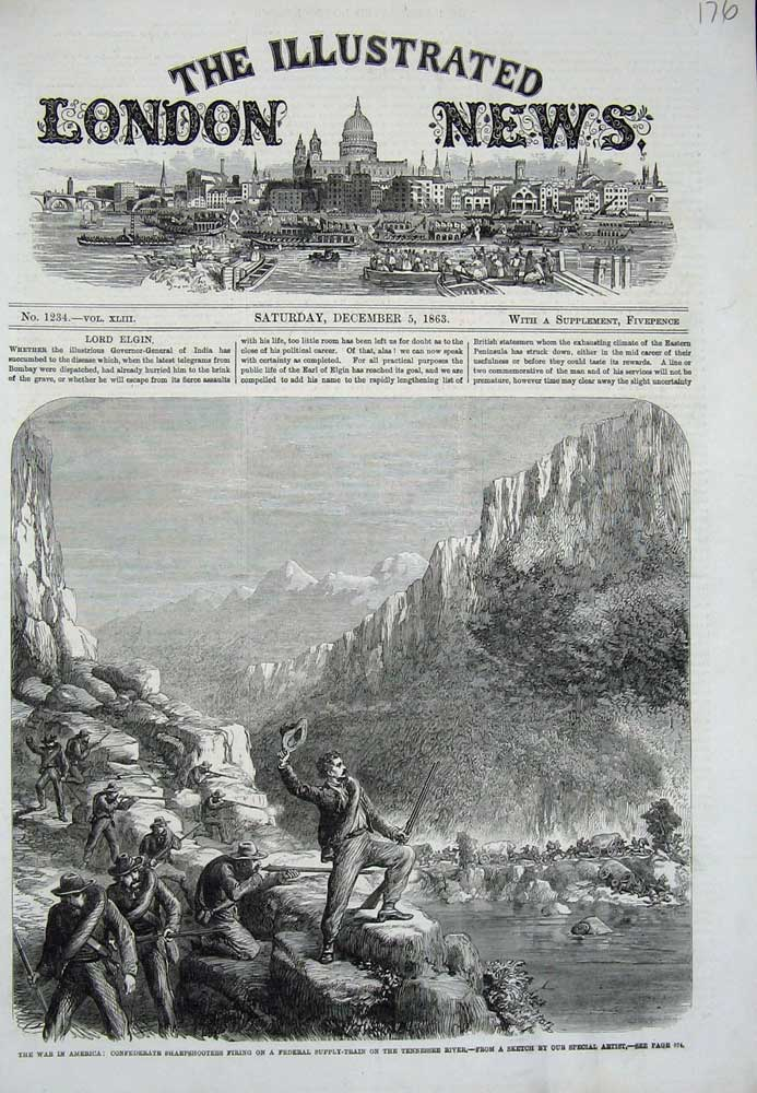 [Print 1863 War America Federal Supply Train Tennessee River 176N712 Old Original]