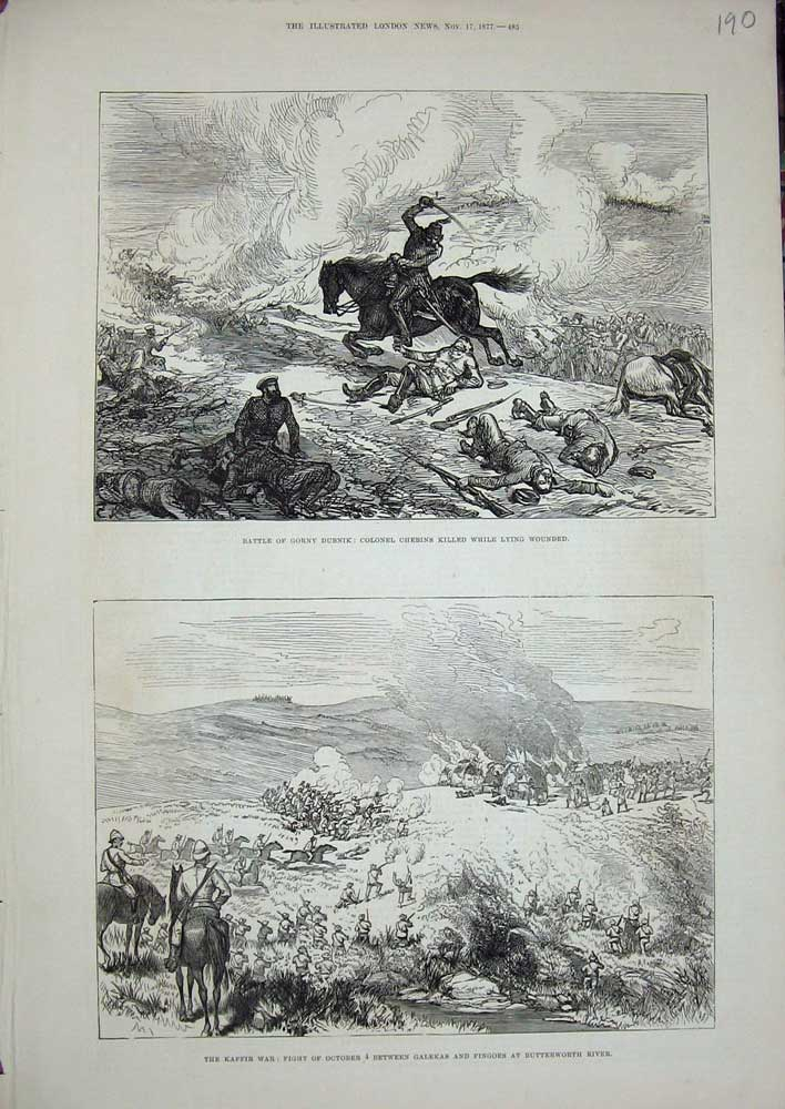 [Print 1877 Kaffir War Galekas Butterworth Gorny Dubnik Army 190N713 Old Original]