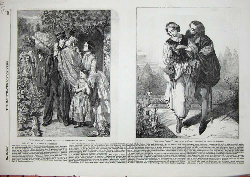[Print 1854 Scene Faust Theatre War Soldier Home Family 200N713 Old Original]