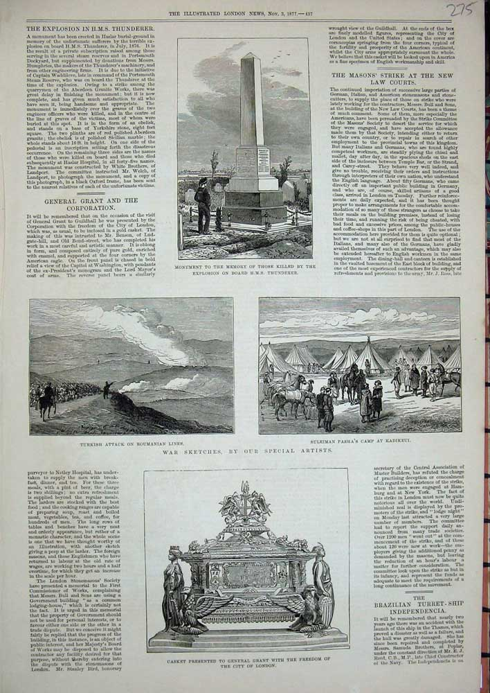 [Print 1877 Monument War Turkish Suleiman Camp Casket Grant 275N713 Old Original]