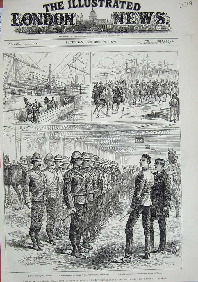 [Print 1882 Soldiers Egypt Life Guards Ship India Docks War 279N713 Old Original]