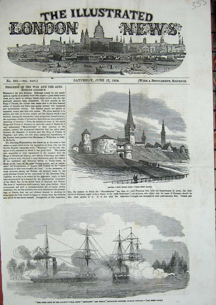 [Print 1854 Revel Inner Fort Baltic War Ships Arrogant Hecla 333N713 Old Original]